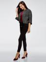 Жакет укороченный свободного силуэта oodji для женщины (черный), 11200999-1/46968/2912O