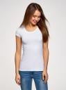 Комплект футболок с вырезом-капелькой на спине (3 штуки) oodji для женщины (белый), 14701026T3/46147/1000N