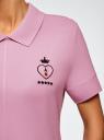 Поло на молнии с вышивкой oodji для женщины (розовый), 19301012-2/46149/8000P