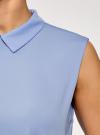 Топ базовый из струящейся ткани oodji для женщины (синий), 14911006-2B/43414/7500N - вид 5