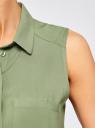 Топ вискозный с нагрудным карманом oodji для женщины (зеленый), 11411108B/26346/6200N