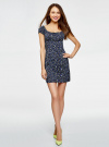 Платье хлопковое со сборками на груди oodji #SECTION_NAME# (синий), 11902047-2B/14885/7910F - вид 2