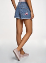 Шорты джинсовые с нашивками и потертостями oodji для женщины (синий), 12807093/45254/7500W