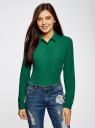 Блузка из струящейся ткани oodji #SECTION_NAME# (зеленый), 11400368-3/32823/6E00N - вид 2
