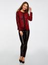 Блузка из струящейся ткани с контрастной отделкой oodji #SECTION_NAME# (красный), 11411059-2/38375/4529A - вид 6