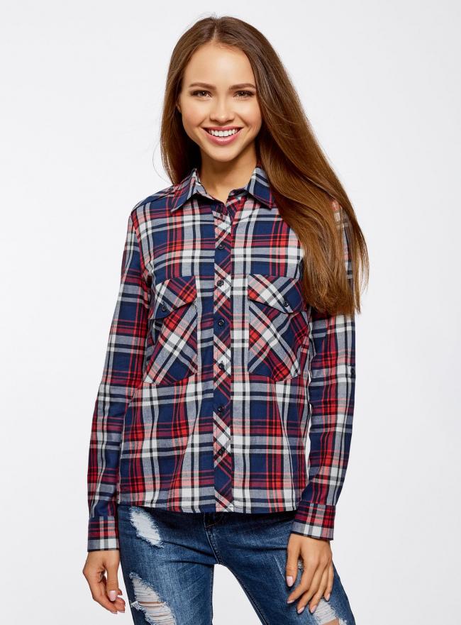 Рубашка хлопковая с нагрудными карманами oodji #SECTION_NAME# (синий), 11411052-1B/42850/7945C