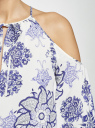 Платье принтованное с разрезами на плечах oodji для женщины (слоновая кость), 11900224/42800/1275E