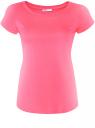 Футболка базовая из хлопка oodji для женщины (розовый), 14701008B/46154/4D00N