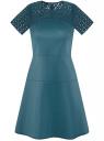 Платье из искусственной кожи с кружевной вставкой oodji для женщины (зеленый), 18L00003/43578/6C00N