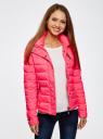 Куртка стеганая с капюшоном oodji #SECTION_NAME# (розовый), 10204053/47173/4D00N - вид 2