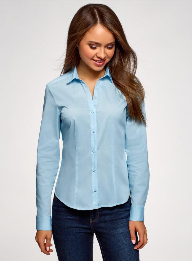 Рубашка базовая с V-образным вырезом oodji для женщины (синий), 13K02001B/42083/7000N