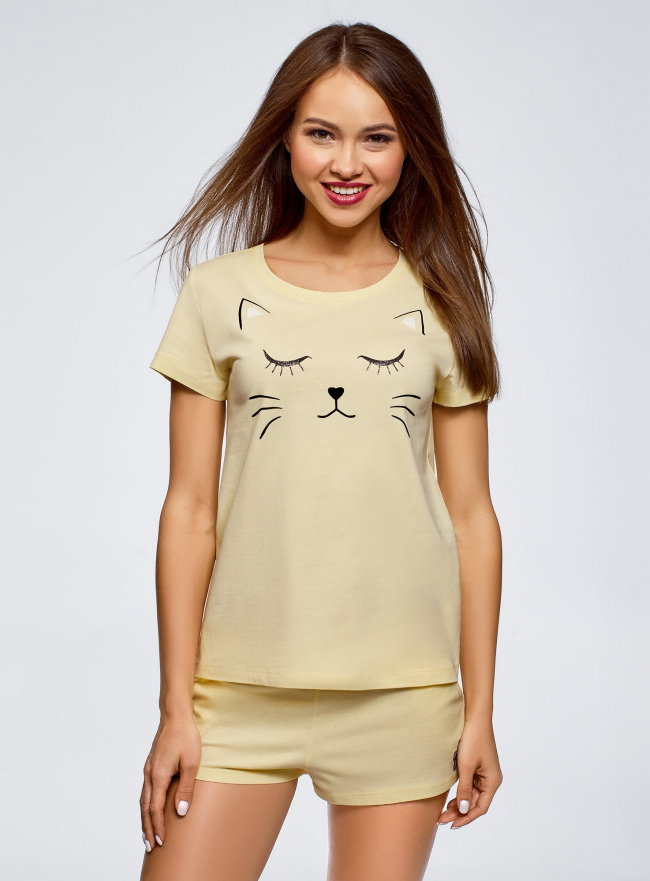 Пижама хлопковая с принтом oodji для женщины (желтый), 56002217-1/46154/5029P
