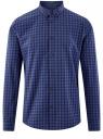 Рубашка хлопковая в клетку oodji #SECTION_NAME# (синий), 3L310168M/48837N/7975C