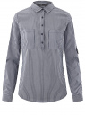 Рубашка в полоску с карманами oodji #SECTION_NAME# (синий), 13K03002-4B/46807/7910S