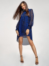 Платье шифоновое с асимметричным низом oodji для женщины (синий), 11913032/38375/7829A - вид 2