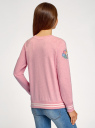 Свитшот хлопковый с принтом и вышивкой oodji для женщины (розовый), 14807021-11/46919/4119Z