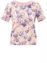 Футболка укороченная из ткани в полоску oodji для женщины (розовый), 14701083/33520/4178F