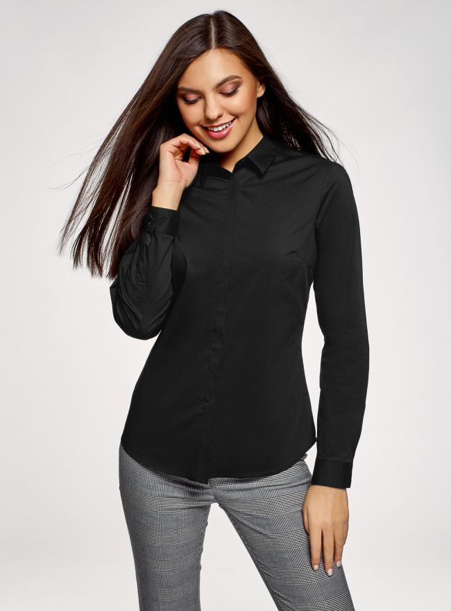 Рубашка базовая приталенного силуэта oodji для женщины (черный), 13K03003B/42083/2900N