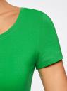 Футболка базовая приталенная oodji для женщины (зеленый), 14701005-7B/46147/6A00N