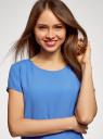 Блузка свободного силуэта с вырезом-капелькой на спине oodji для женщины (синий), 11411138-1B/43281/7503N