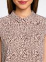 Блузка базовая без рукавов с воротником oodji #SECTION_NAME# (коричневый), 11411084B/43414/4910F - вид 4