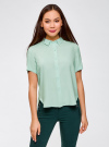 Блузка вискозная с короткими рукавами oodji #SECTION_NAME# (зеленый), 11411137B/14897/6501N - вид 2