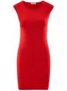Платье трикотажное с круглым вырезом oodji #SECTION_NAME# (красный), 14008014-6B/46943/4500N