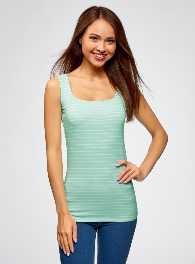 Топ из эластичной ткани на широких бретелях oodji для женщины (зеленый), 24315002-1B/45297/6510S