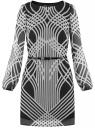 Платье из шифона с ремнем oodji #SECTION_NAME# (черный), 11900150-3/13632/2910O