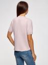 Джемпер прямого силуэта с коротким рукавом oodji #SECTION_NAME# (розовый), 63812651/46096/4000M - вид 3