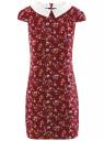 Платье принтованное с контрастным воротником oodji #SECTION_NAME# (красный), 11910077-3/37888/4970F