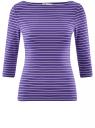 Футболка базовая с рукавом 3/4 oodji для женщины (фиолетовый), 24211001B/45297/8310S