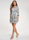 Платье трикотажное со складками на юбке oodji #SECTION_NAME# (белый), 14001148-1/33735/1229E - вид 6