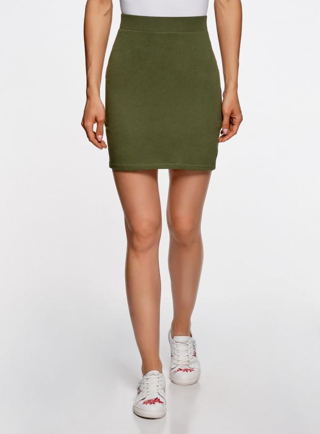 Комплект трикотажных юбок (3 штуки) oodji #SECTION_NAME# (зеленый), 14101001T3/46159/6900N