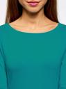 Платье трикотажное базовое oodji #SECTION_NAME# (бирюзовый), 14001071-2B/46148/7300N - вид 4