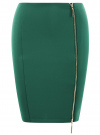 Юбка-карандаш трикотажная на молнии oodji #SECTION_NAME# (зеленый), 14101080/33038/6E00N