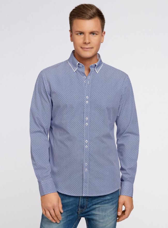 Рубашка хлопковая с контрастной отделкой воротника oodji #SECTION_NAME# (синий), 3L110188M/19370N/1075G