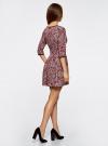 Платье трикотажное со складками на юбке oodji #SECTION_NAME# (красный), 14001148-1/33735/4912E - вид 3