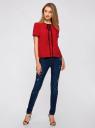 Блузка с коротким рукавом и контрастной отделкой oodji #SECTION_NAME# (красный), 11401254/42405/4500N - вид 6