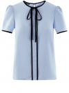 Блузка с коротким рукавом и контрастной отделкой oodji #SECTION_NAME# (синий), 11401254/42405/7029B
