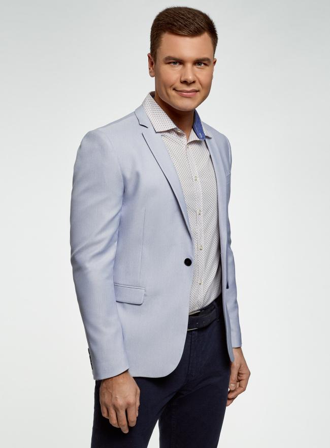 Пиджак приталенный на пуговице oodji для мужчины (синий), 2L420259M/49147N/7510O