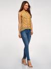 Топ из струящейся ткани с рубашечным воротником oodji для женщины (желтый), 14903001B/42816/524CF - вид 6