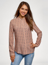 Блузка принтованная из вискозы с воротником-стойкой oodji #SECTION_NAME# (бежевый), 21411063-1/26346/3512F - вид 2