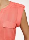 Блузка вискозная с нагрудными карманами oodji #SECTION_NAME# (розовый), 21412132-6B/48756/4300N - вид 5