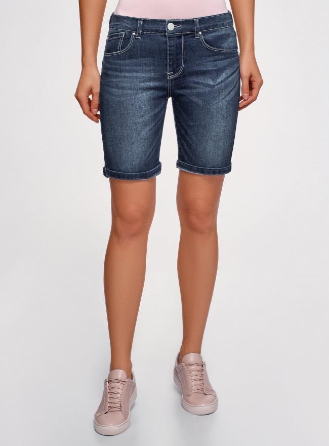 Шорты джинсовые удлиненные oodji для женщины (синий), 12807086/46785/7900W