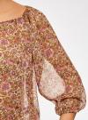 Блузка свободного силуэта с кисточками oodji для женщины (бежевый), 21424003-1/15036/3341F - вид 5