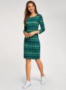 Платье трикотажное с вырезом-капелькой на спине oodji #SECTION_NAME# (зеленый), 24001070-5/15640/6C52E - вид 6