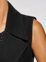 Жилет удлиненный с декоративными пуговицами oodji #SECTION_NAME# (черный), 22305001-1B/31291/2900N - вид 5