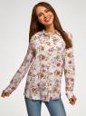 Блузка с нагрудными карманами и регулировкой длины рукава oodji для женщины (бежевый), 11400355-10B/42540/3319F