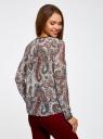 Блузка из струящейся ткани с контрастной отделкой oodji #SECTION_NAME# (разноцветный), 11411059-2/38375/3045E - вид 3